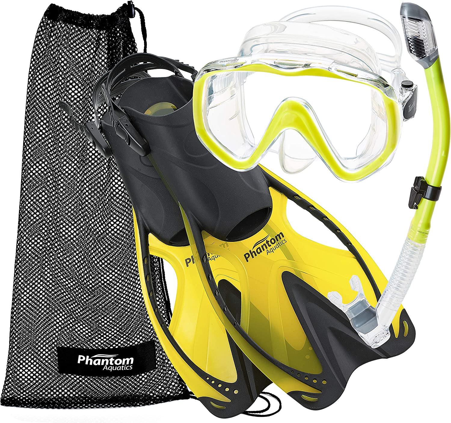 Yellow, S//M 6-8 Phantom Aquatics Turtle Mask Fin Dry Snorkel Snorkeling Set