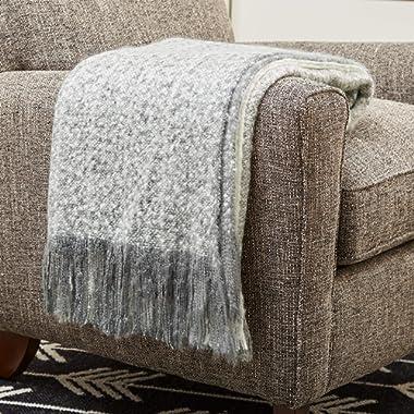 Rivet Super Soft Oversized Ombre Stripe Brushed Weave Throw Blanket, 60  x 80 , Gray/White