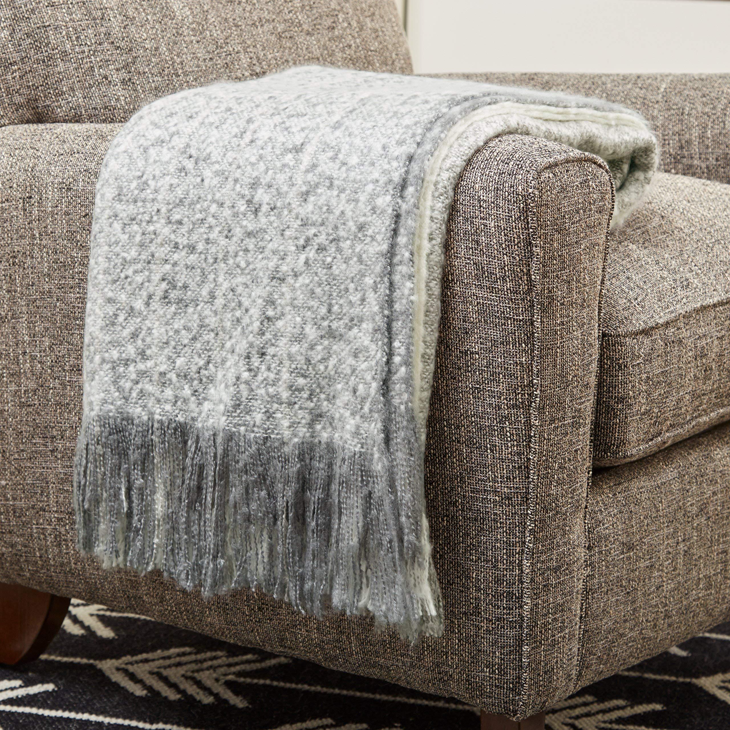 Rivet Super Soft Oversized Ombre Stripe Brushed Weave Throw Blanket, 60'' x 80'', Grey, White