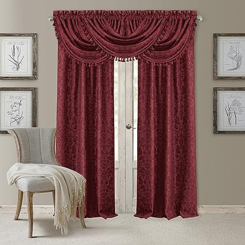 Cheap Elrene Home Fashions 20862ELR Antonia Blackout Rod Pocket/Back Tab Window Curtain Panel,Rouge,52″ X 108 window curtain panel for sale