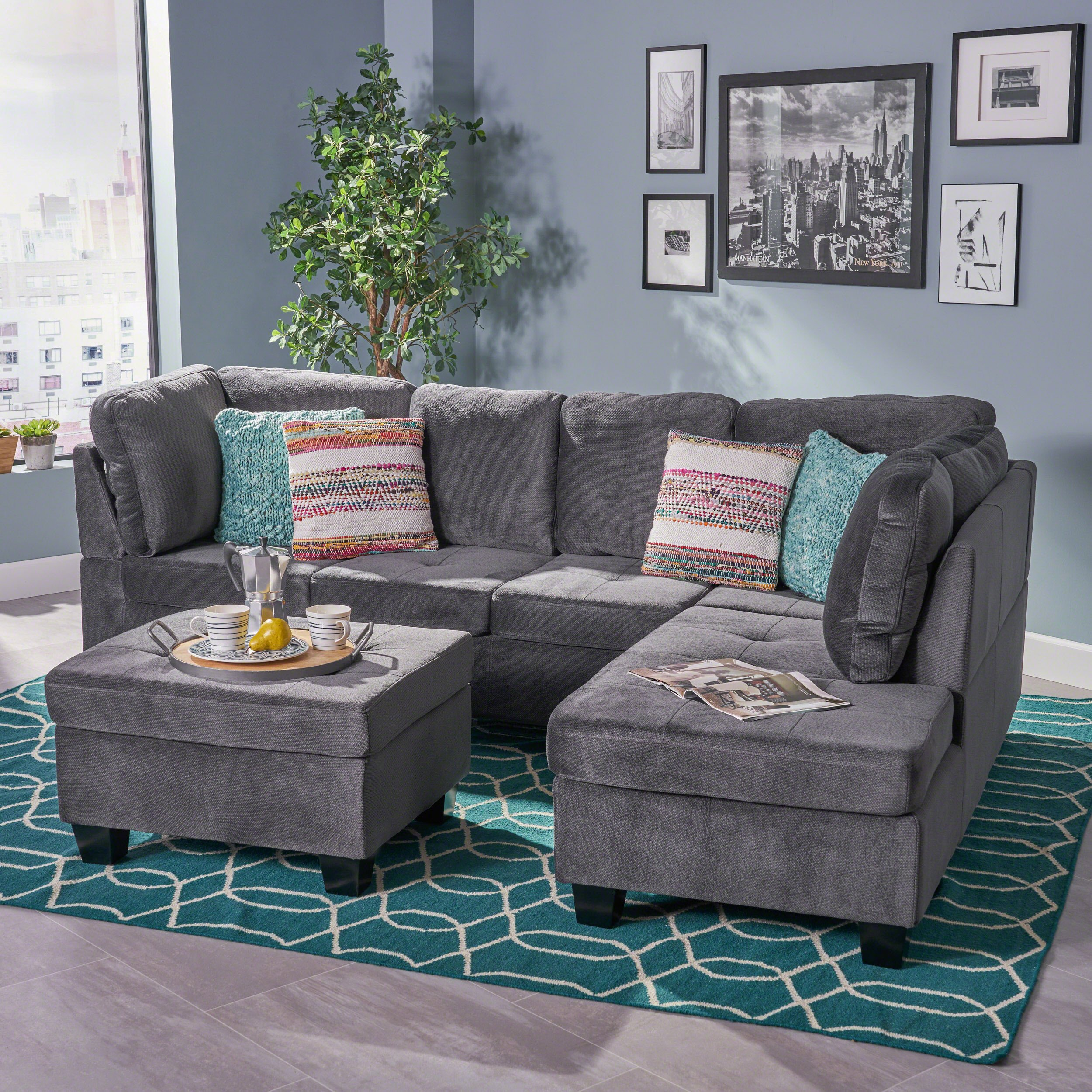 Christopher Knight Home Canterbury Sectional Sofa, CHARCOAL by Christopher Knight Home