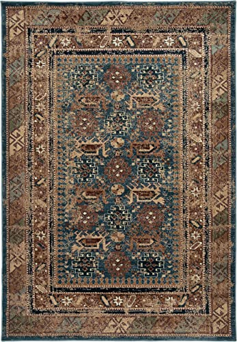 Rizzy Home Bellevue Collection Polypropylene Area Rug, Blue Tan Brown Border