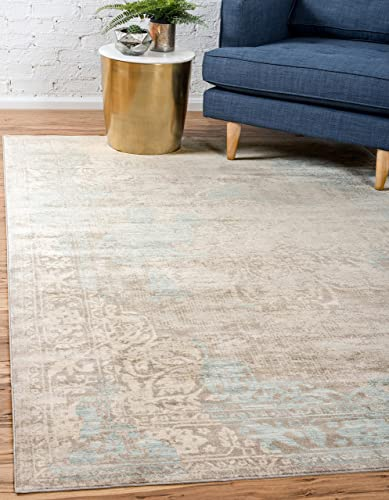 Unique Loom Paris Collection Pastel Tones Traditional Distressed Dark Gray Area Rug 10 0 x 13 0