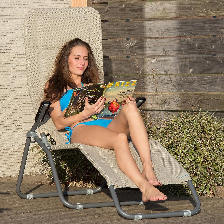 Relaxdays Gartenliege XXL bis bis bis 150 kg belastbar, große Bäderliege m. Kippfunktion, Sonnenliege m. Polsterung, Mehrfarbig 0538dd