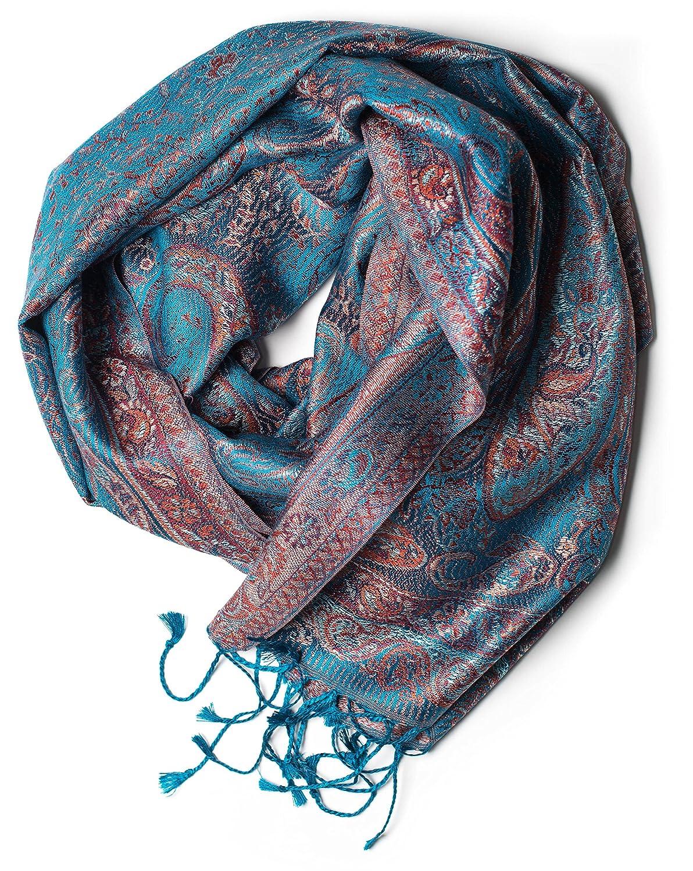 e812f3e56f409e diverse Designs ufash Pashmina Seidenschal Tuch aus Indien 100% federleichte  Seide Paisley Muster 160 x ...