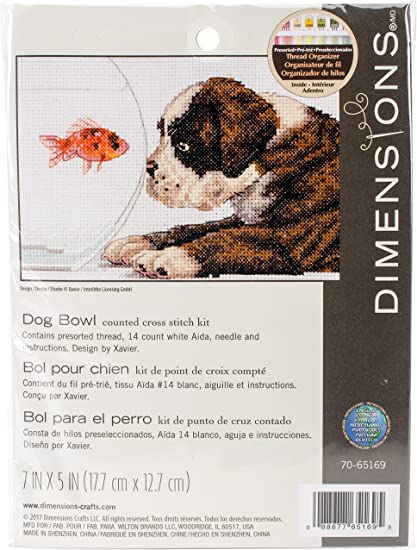 Dog Bowl Needlepoint Kit 14 Count Dimensions 70-65169 7 x 5 in