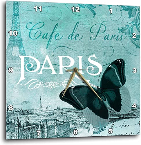 3dRose DPP_110528_3 Cafe De Paris Teal Butterfly Vintage Art-Wall Clock, 15 by 15-Inch