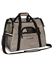 Airline Approved Pet Carrier, Tall Profile Soft Sided Luxury Travel Tote with Fleece Bedding, Premium Brand Auto Self Locking Zippers, Under Seat Compatibility, Perfect for Cats (Medium, Charcoal Ash)