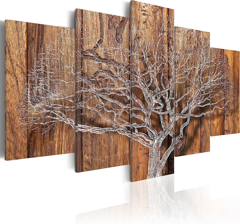 murando - Cuadro en Lienzo 200x100 cm Impresión de 5 Piezas Material Tejido no Tejido Impresión Artística Imagen Gráfica Decoracion de Pared Arbol Bosque Abstracto Klimt b-C-0046-b-n