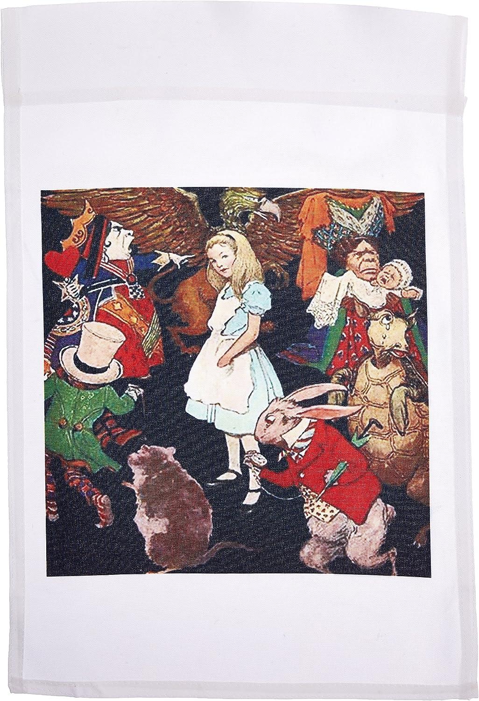 3dRose fl_162930_1 Beautiful Color Illustration Alice in Wonderland Garden Flag, 12 by 18-Inch
