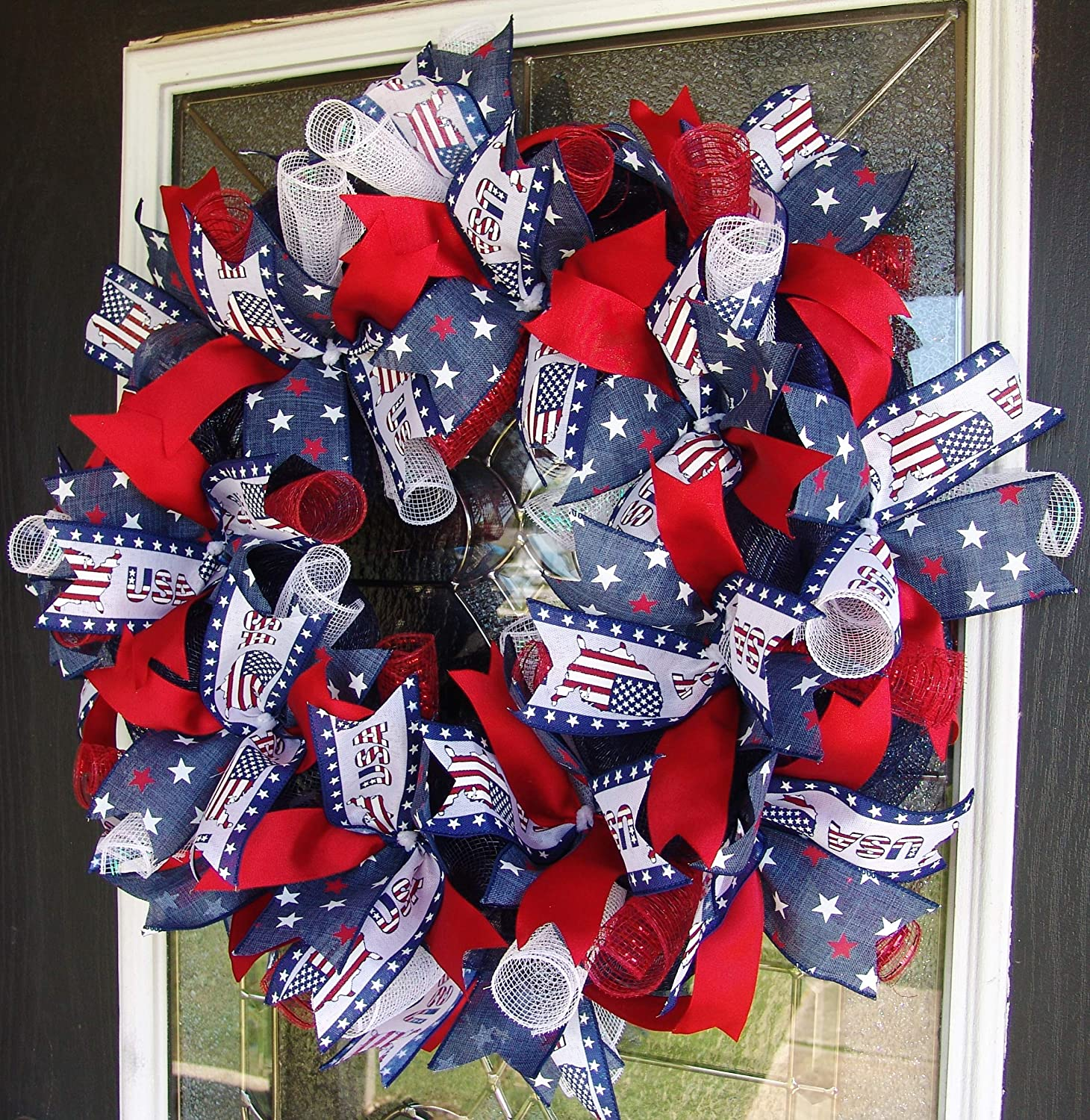 Memorial Veterans Day XL Mickey Mouse 4th Fourth of July Patriotic Deco Mesh Front Door Wreath Summer Disney Home Decor Porch Patio Decoration