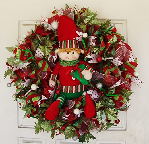 Amazon Com Cutest Elf Plush Christmas Deco Mesh Door Wreath Movie