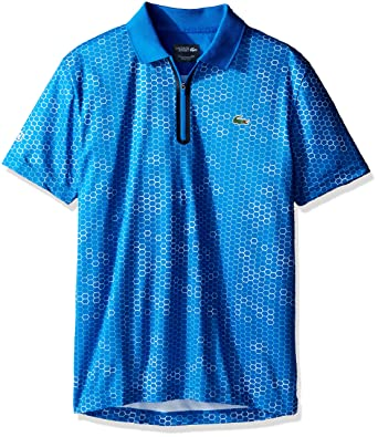 f6aaa8ff8 Lacoste Men s Tennis Short Sleeve Printed UltraDry W Zipper Placket ...