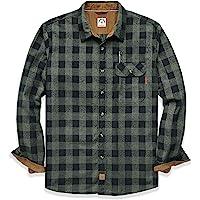 Dubinik Camisa de franela de manga larga a cuadros de algodón con botones para hombre, corte regular
