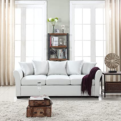 Classic And Traditional Ultra Comfortable Linen Fabric Sofa   Living Room Fabric  Couch (Beige)
