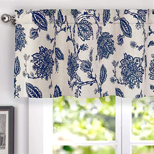 DriftAway Freda Jacobean Floral Linen Blend Blackout Thermal Insulated Energy Saving Privacy Window Curtain Valance Rod Pocket 2 Layers Single 50 Inch by 18 Inch Plus 2 Inch Header Navy Beige