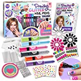 Kids Nail Art Polish Drawing Pens Kit, FunKidz Ultimate 280Pcs Nails Glitter Set For Girls Glow In Dark Sparkly and Colorful