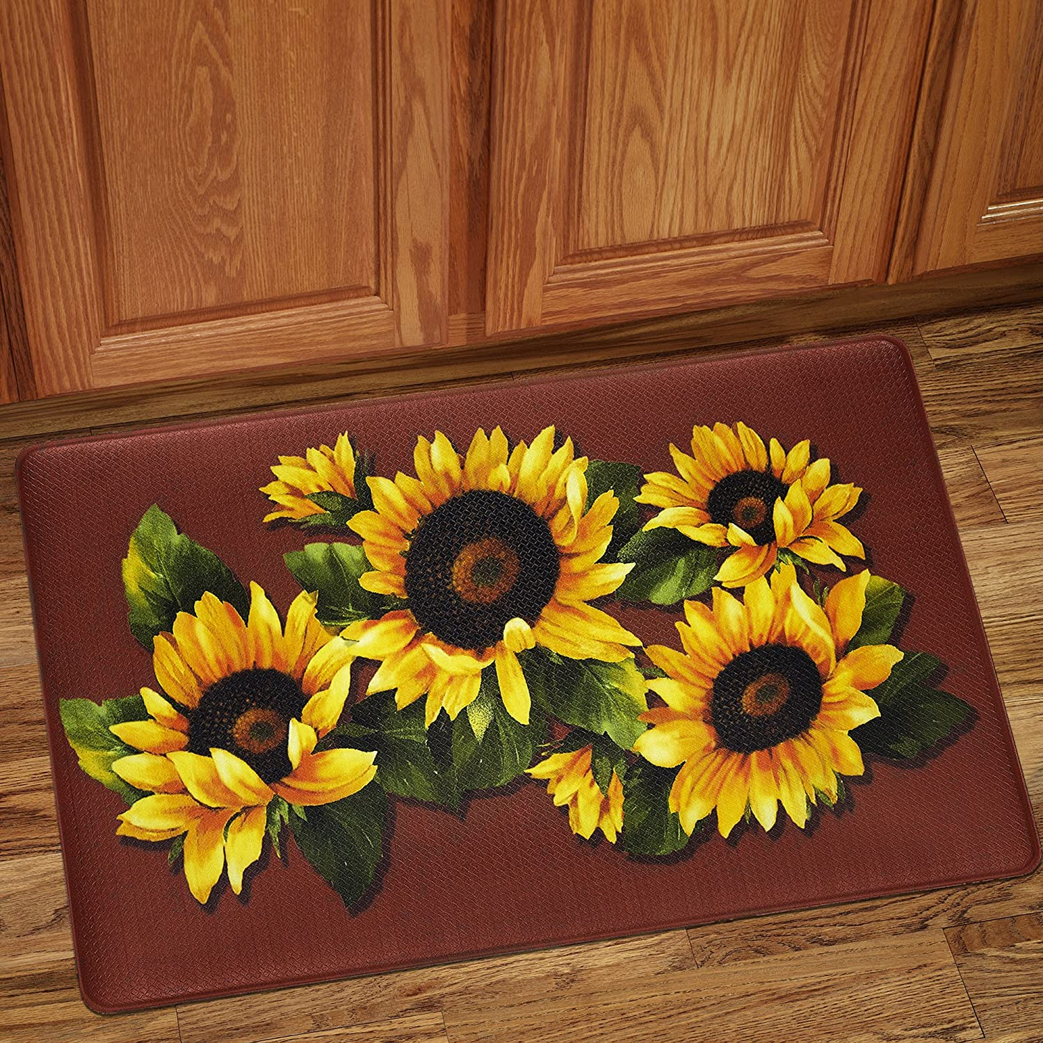 "Sweet Home Collection Memory Foam Anti Fatigue Durable Non Skid Rug, 30"" x 18"", Black Eyed Susan"
