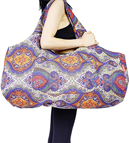 Amazon Com Aozora Yoga Mat Bag Large Yoga Mat Tote Sling Carrier With Pockets Fits Mats With Multi Functional Storage Pockets Light And Durable Celestial Sports Outdoors
