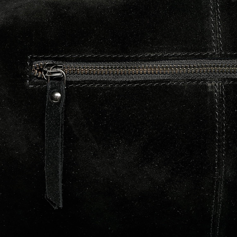 BACCINI väska äkta mocka selina stor hobo Bag axelväska läderväska dam, - Ljusbrun - Large svart