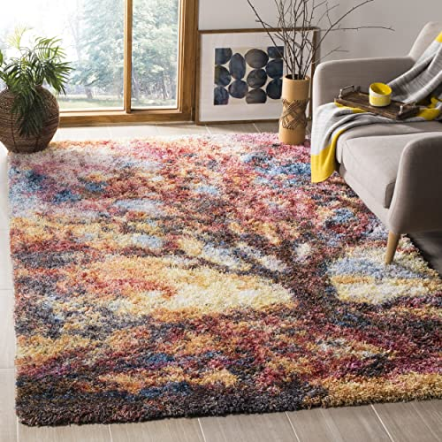 Safavieh Gypsy Shag Collection GYP522C Rust and Blue Area Rug 3 x 5