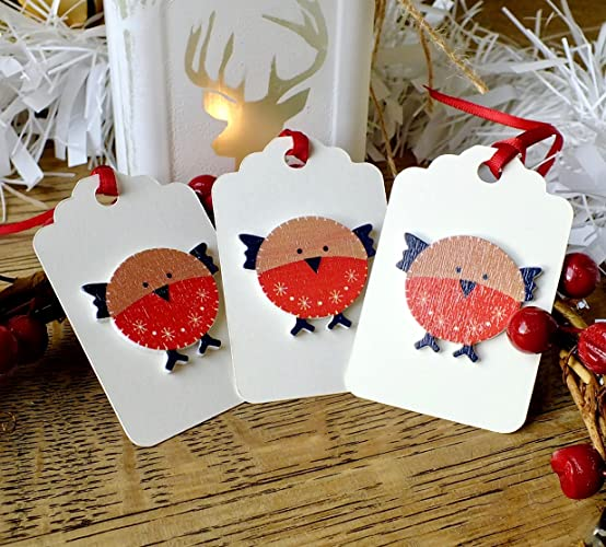 3 x luxury wooden christmas gift tags handmade cute winter robin red breast xmas hang - Christmas Tags Handmade