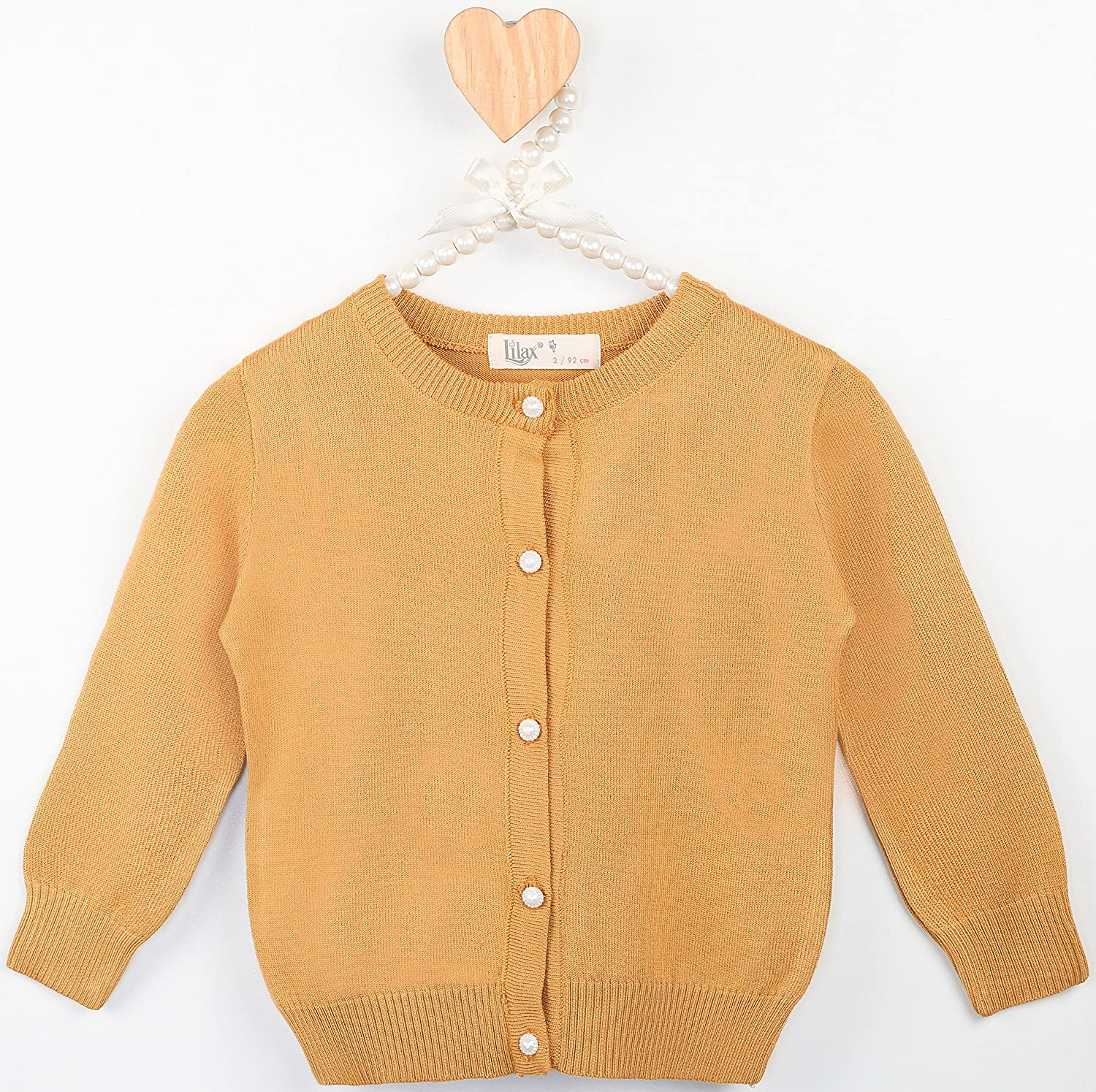 Lilax Little Girls Knit Uniform Cardigan Long Sleeve Sweater