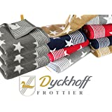 Frottierserie aus dem Hause Dyckhoff - 3er-Pack Handtücher oder ein Duschtuch - elegantes Streifendesign kombiniert mit Sternen - geprüfte Qualität, 3er Pack Handtücher [50 x 100 cm], grau