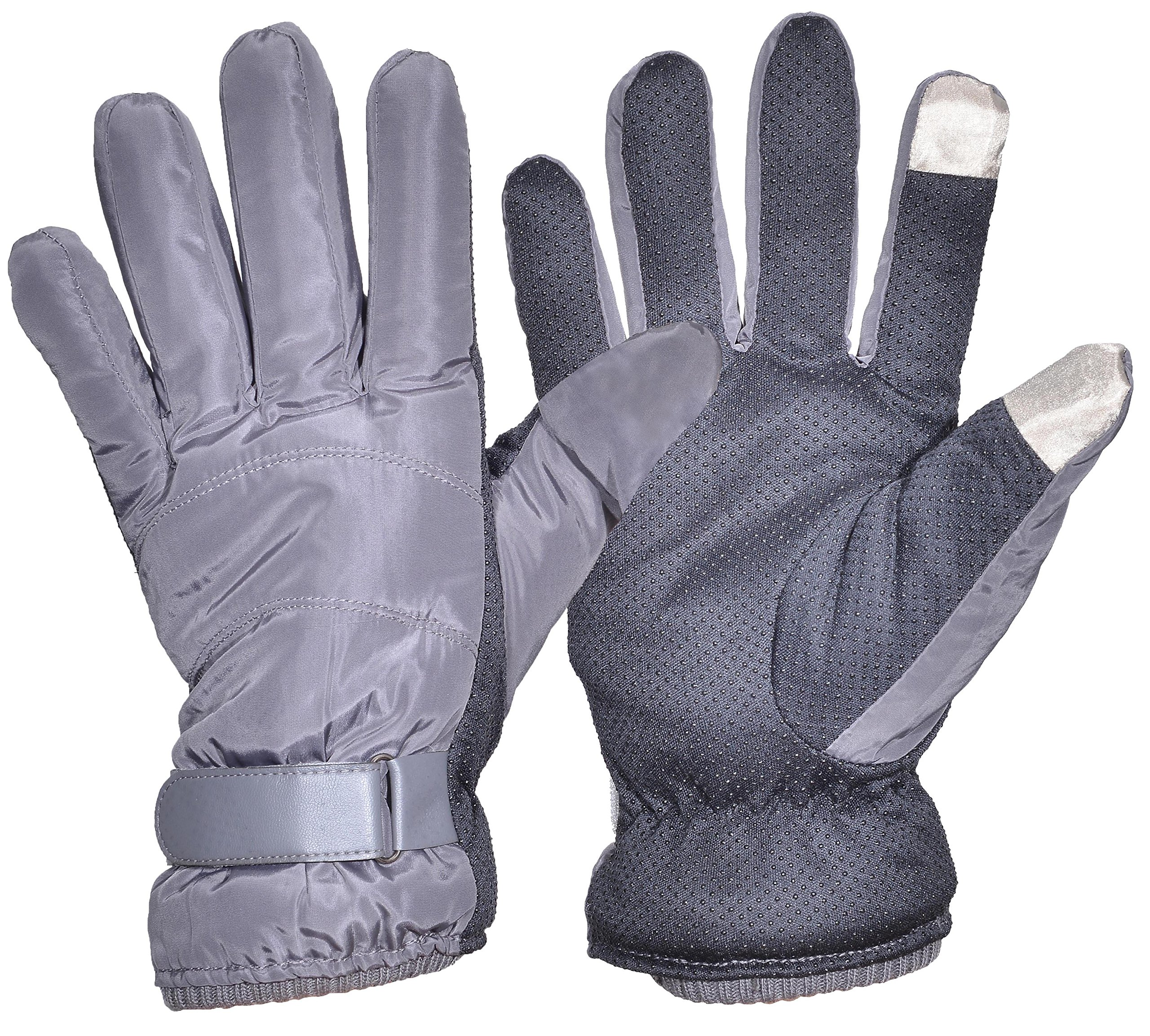 Outrip Men's Driving Gloves Winter Warm Touch Screen Fleece Lined Cycling Gloves (Gray)