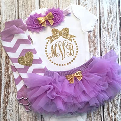 Baby Girl Outfit Personalized Monogram Purple and Gold Optional Tutu Bloomers Headband and Leg Warmers