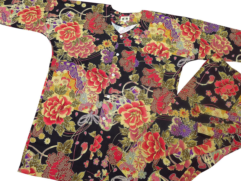 【金彩牡丹と桜・黒赤】 義若オリジナルの鯉口シャツ単品 男女兼用