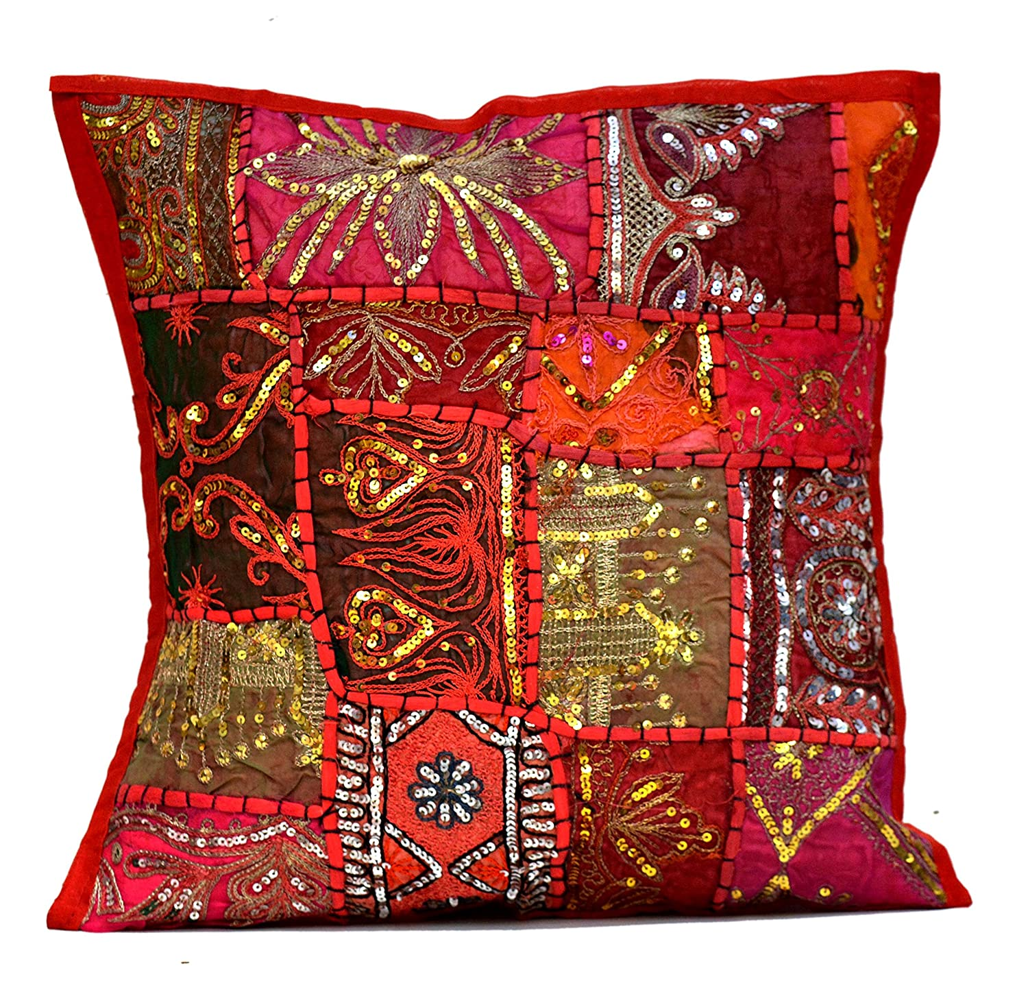 (Pink) - An Ethnic Embroidery Sequin Patchwork Throw Pillow Cases Cushion Cover (Pink) Amazingindiaonline