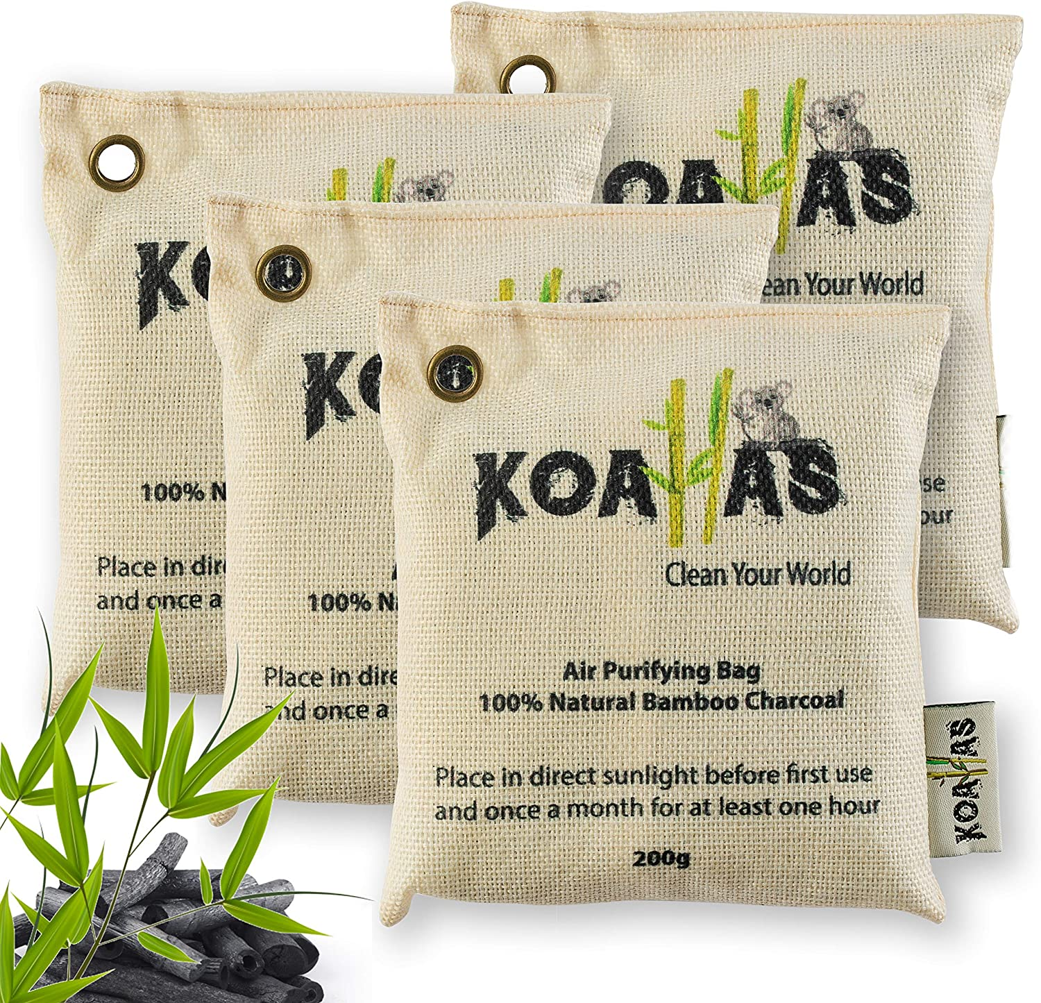 Bamboo Charcoal Air Purifying Bags - air fresheners for home, odor absorbers for home, house Car, charcoal bags odor absorber, Closet deodorizer freshener, refrigerator odor eliminator 4x200 by Koalla