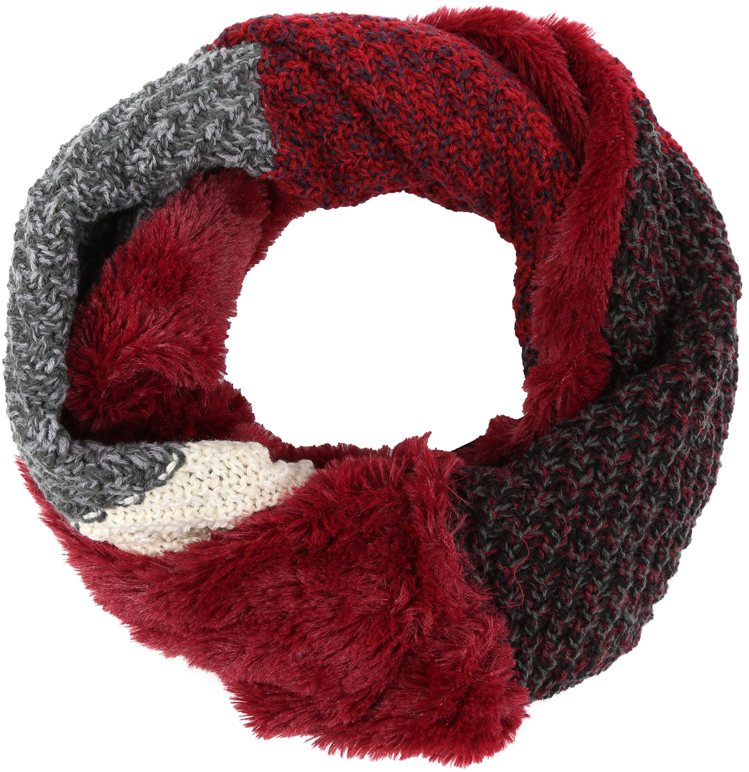 Sakkas 16109 - Julie Short Wrap Around Two Sided Faux Fur And Ribbed Knit Infinity Scarf - Red / Grey - OS