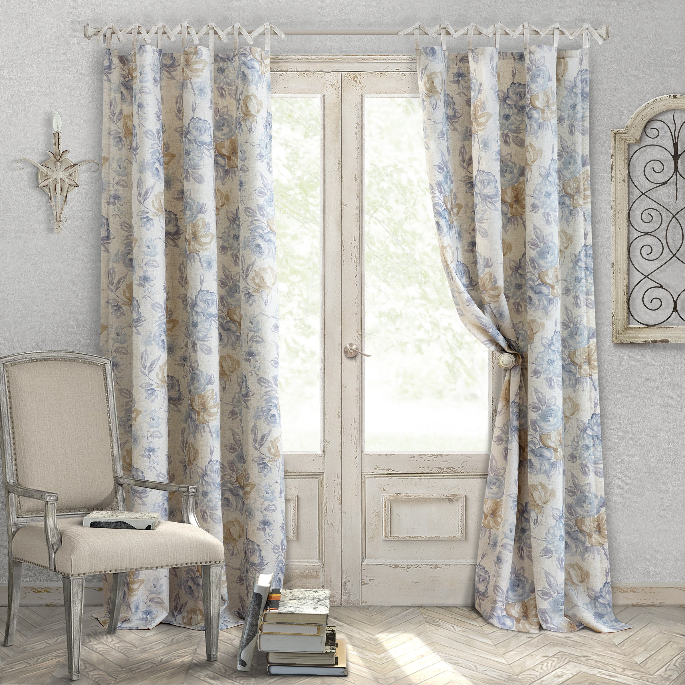 Elrene Home Fashions Country Chic Linen Non-Adjustable Tie Top Single Panel Window Curtain Drape, 52 inch Wide x 95 inch Long, Blue (1 Panel)
