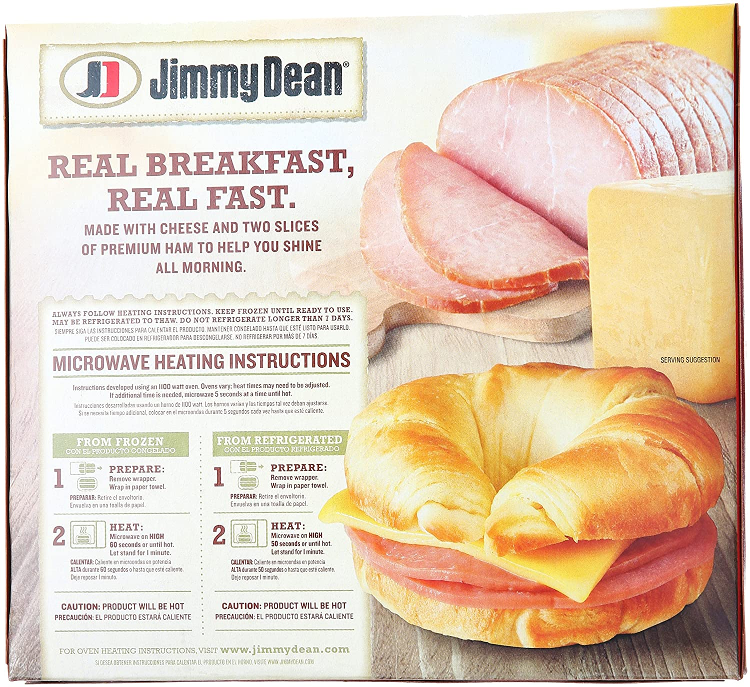 Jimmy Dean, Croissant Sandwiches, Ham & Cheese, 4 ct (frozen): Amazon.com: Grocery & Gourmet Food
