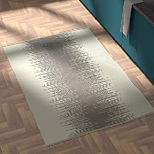 Rivet Abstract Reflections Modern Wool Area Rug, 4 x 6 Foot, Grey