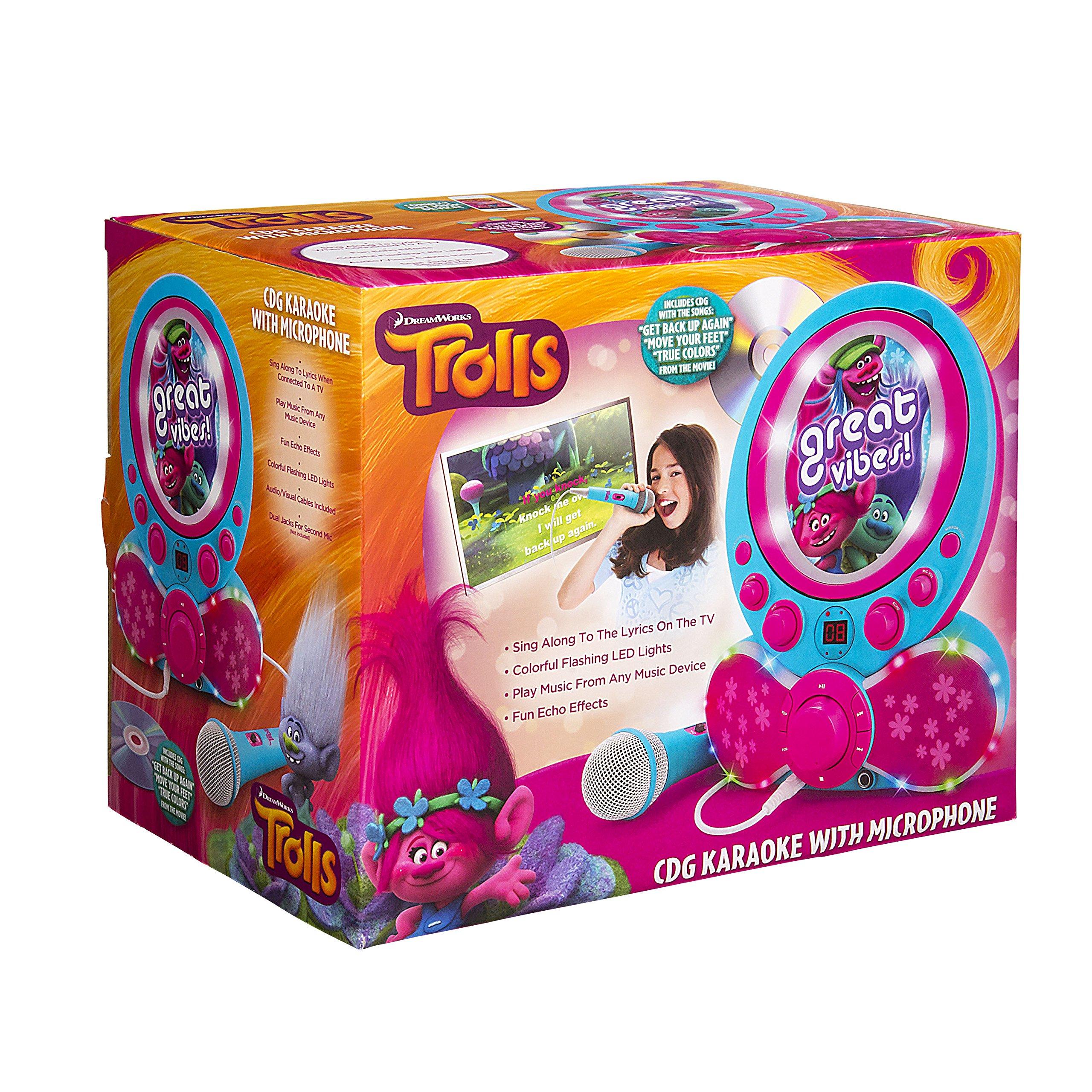 KIDdesigns Trolls CDG Karaoke Machine CD Player with Microphone by KIDdesigns (Image #6)