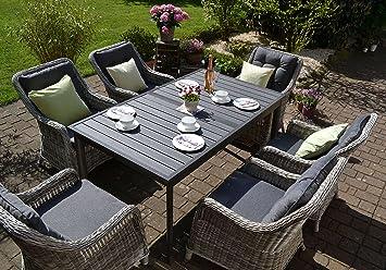 Bomey Rattan Lounge Set I Gartenmöbel Set Como 7 Teilig I Essgarnitur Mit  Polstern I
