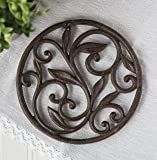 """Cast Iron Trivet - Round with Vintage Pattern - Decorative Cast Iron Trivet For Kitchen Or Dining Table - 7.7 """" Diameter - With Rubber Pegs by Comfify"""