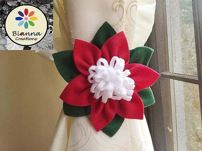 Amazon one christmas flower curtain tieback 6 red white and one christmas flower curtain tieback 6quot red white and dark green fleece mightylinksfo