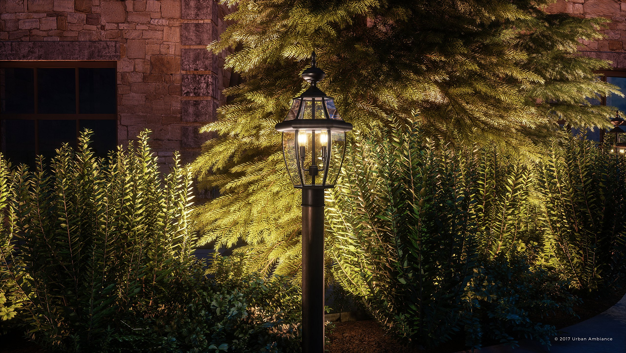 Luxury Colonial Outdoor Post Light, Large Size: 21''H x 11''W, with Tudor Style Elements, Versatile Design, High-End Black Silk Finish and Beveled Glass, UQL1148 by Urban Ambiance by Urban Ambiance (Image #2)