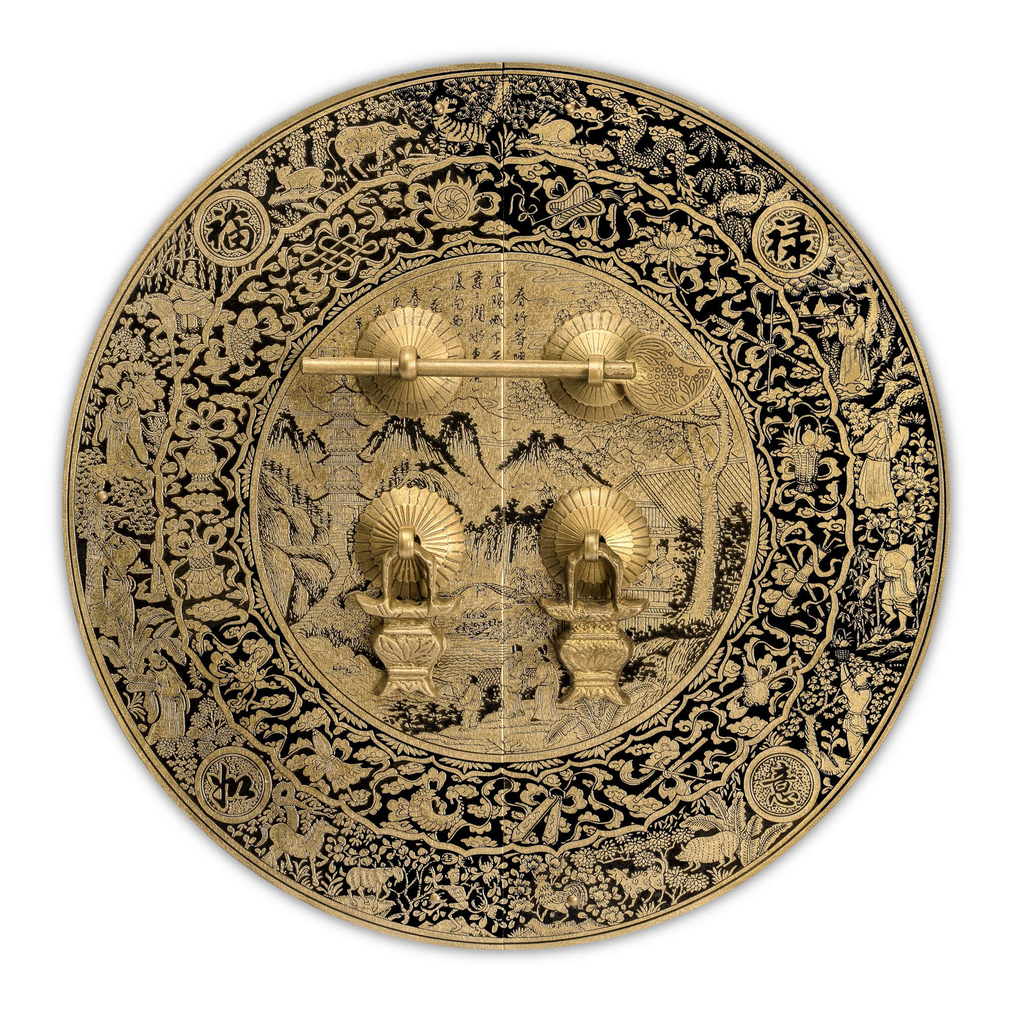 Chinese Brass Hardware Mountain Scenery Cabinet Face Plate 9-1/2''