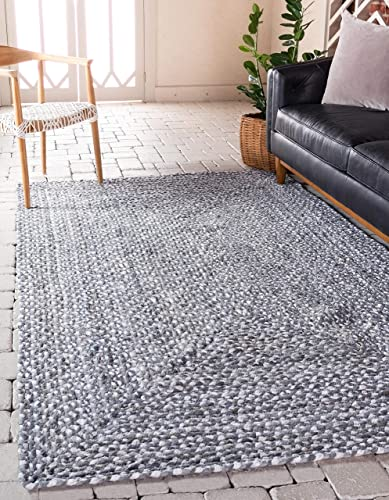Unique Loom Braided Chindi Collection Casual Modern Gray Area Rug 2 0 x 3 0
