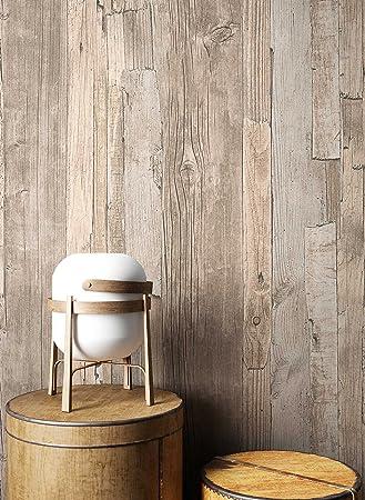 Holz Tapete Vlies Beige Braun Grau Edel | Schöne Edle Tapete Im Holzwand  Design | Moderne