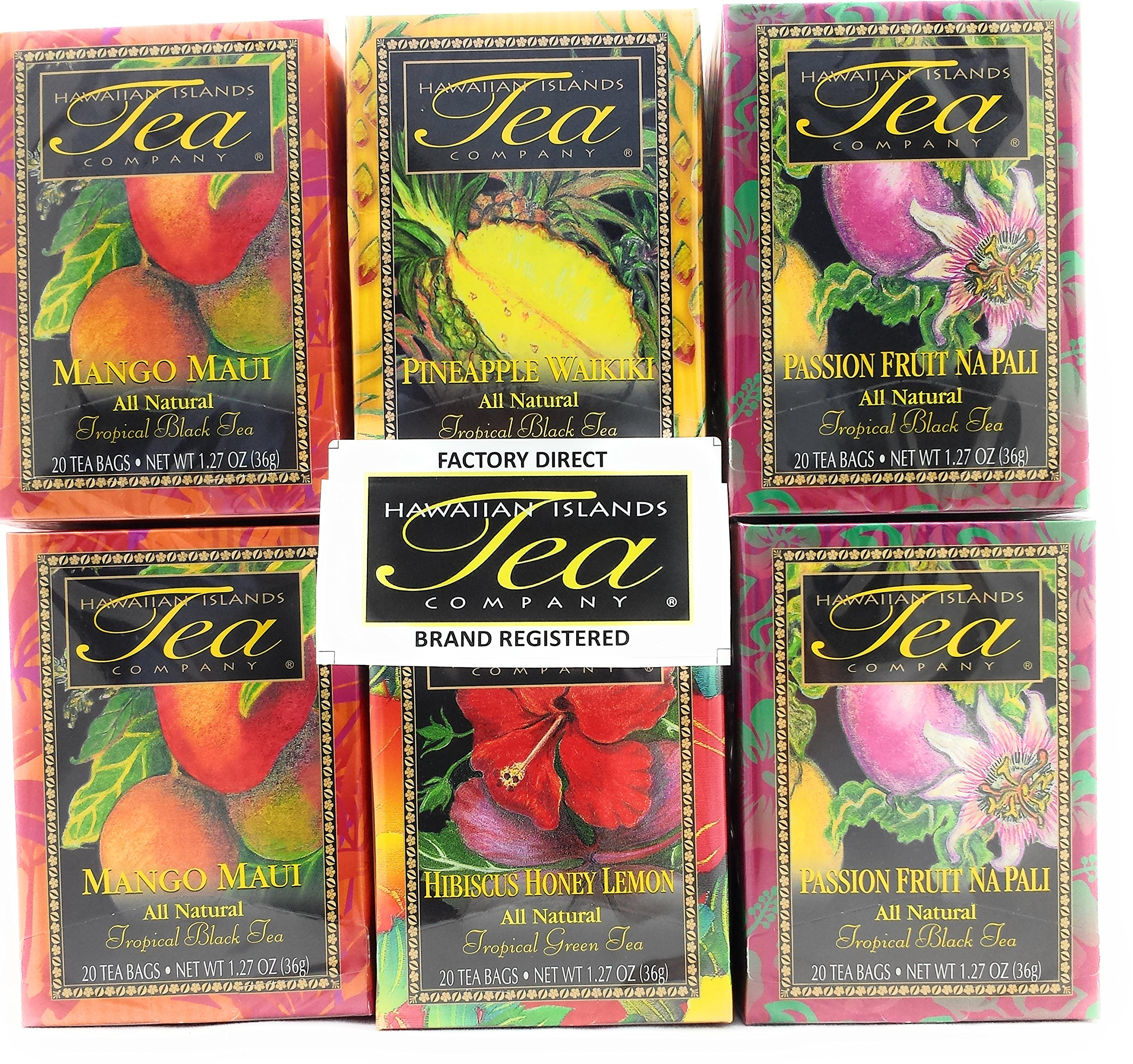Hawaiian Islands Tea Company TROPICAL TEA Assortment (Six/1.27 Oz. Boxes with 20 Tea Bags Per Box) (Pack of 6)