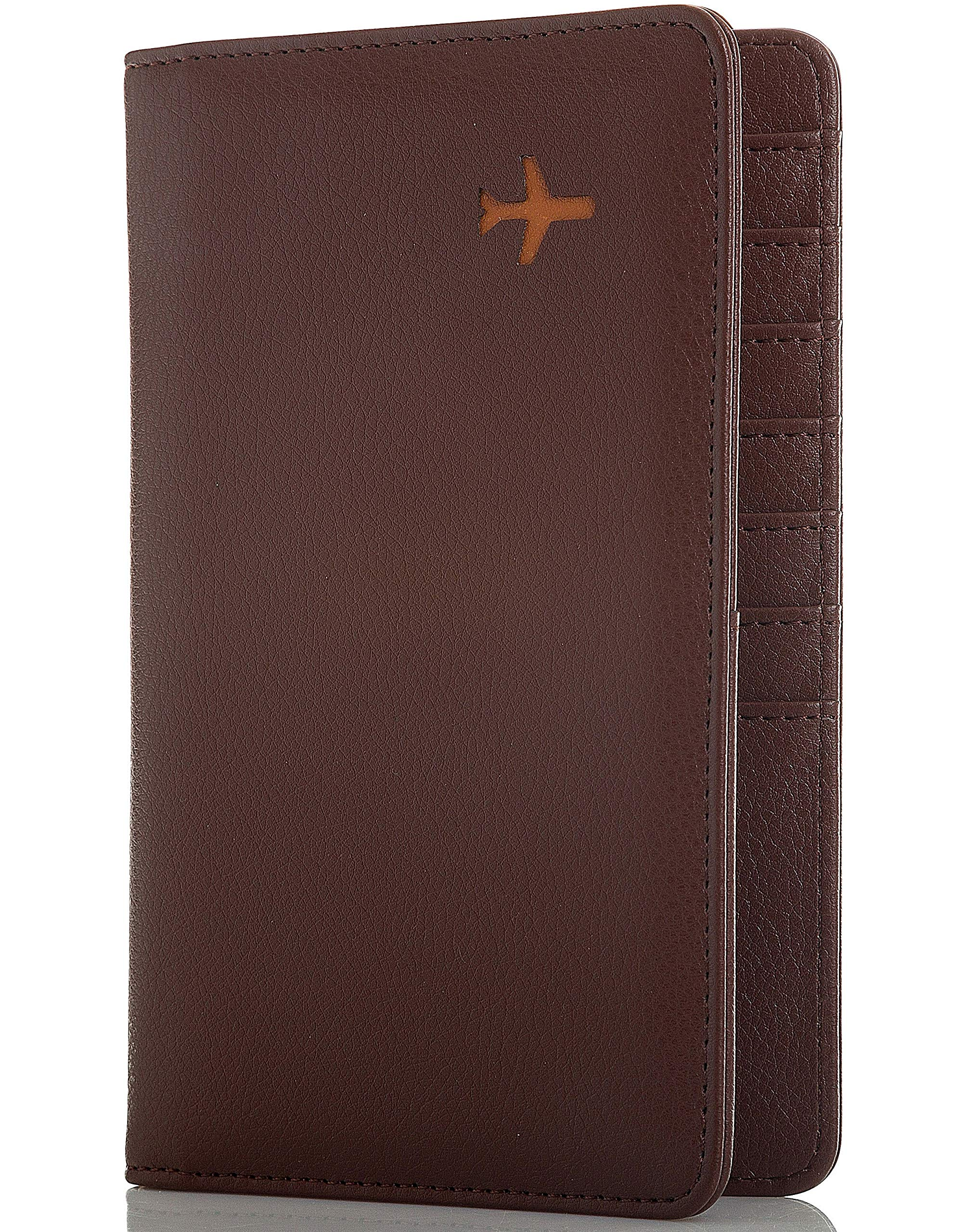 All in One Travel Wallet - 2 Passport Holder + Gift Box/cash tickets cards pen (Chocolate Brown)