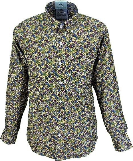 Relco - Camisa Casual - Paisley - con Botones - Manga Larga - para Hombre Amarillo Mostaza XX-Large: Amazon.es: Ropa y accesorios
