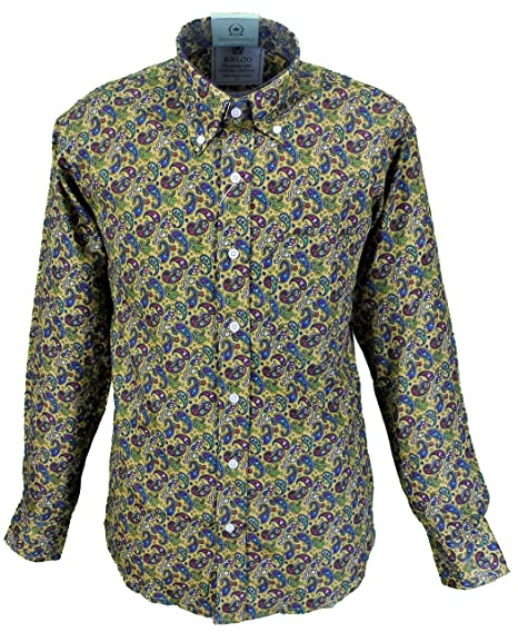a66214ab79a Relco Mens Platinum Mustard Paisley Button-Down Shirts  Amazon.co.uk   Clothing