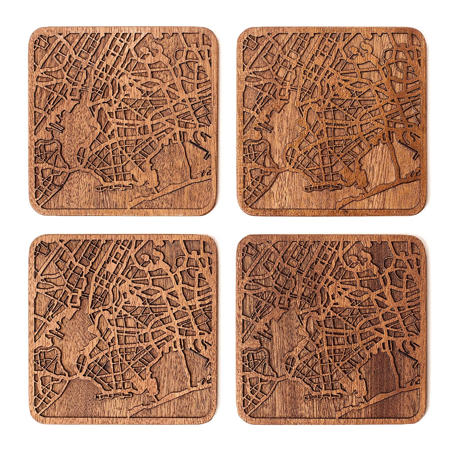 New York Map Coaster by O3 Design Studio, Set Of 4, Sapele Wooden Coaster With City Map, Handmade